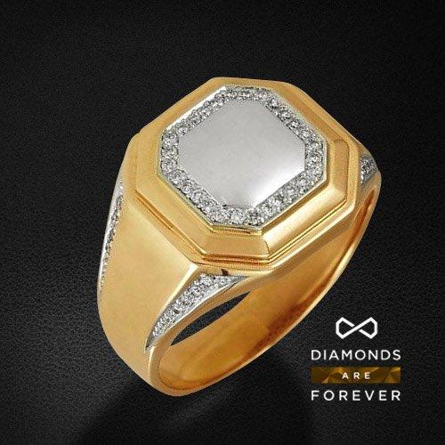 Мужское кольцо с бриллиантами из комбинированного золота 585 пробыДля мужчин<br>Мужское кольцо с бриллиантами из комбинированного золота 585 пробы. Характеристики вставок: бриллиант 57кр 8-0.064ct 4/4а, бриллиант 57кр 36-0.106ct 3/5а. Средний вес изделия: 10,24 гр.<br>
