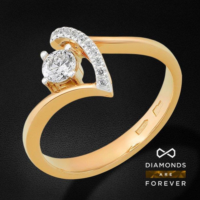 Кольцо с бриллиантами из красного золота 585 пробыКольца<br>Кольцо с бриллиантами из красного золота 585 пробы. Характеристики вставок: бриллиант 57кр 10-0.048ct 5/5а, бриллиант 57кр 1-0.24ct 5/5а. Средний вес изделия: 3.04 гр.<br>