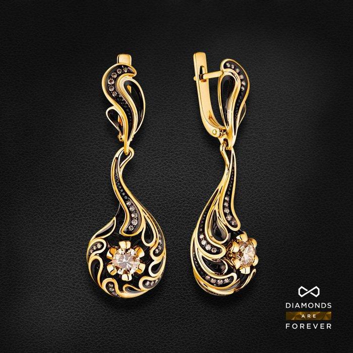 Серьги с бриллиантами из желтого золота 585 пробыСерьги<br>Серьги с бриллиантами из желтого золота 585 пробы. Характеристики вставок: 54 бриллиант 1,245. Средний вес изделия: 9.18 гр.<br>