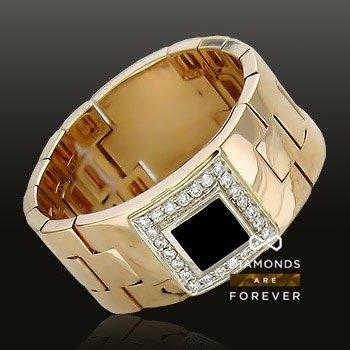Купить Печатка с ониксом, бриллиантами из комбинированного золота 585 пробы