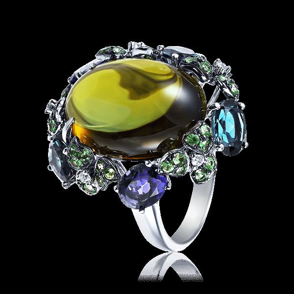 Купить Кольцо с турмалином, иолитом, топазом, тсаворитом, бриллиантами из белого золота 585 пробы