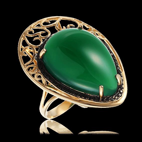 Купить Кольцо с агатом, черными бриллиантами из желтого золота 585 пробы