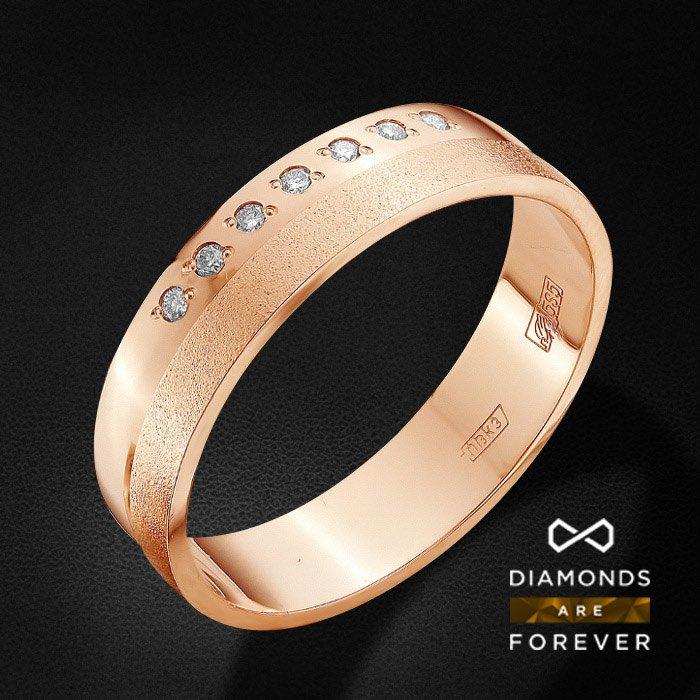 Обручальное кольцо с бриллиантами из красного золота 585 пробыКольца<br>Обручальное кольцо с бриллиантами из красного золота 585 пробы. Характеристики вставок: 7 бриллиант кр 57 4/5а 0.05ct.. Средний вес изделия: 4.06 гр.<br>