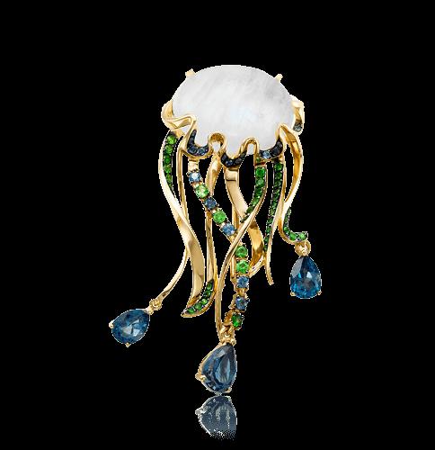 Купить Брошь Медуза с лунным камнем, топазом, сапфиром, тсаворитом из желтого золота 585 пробы