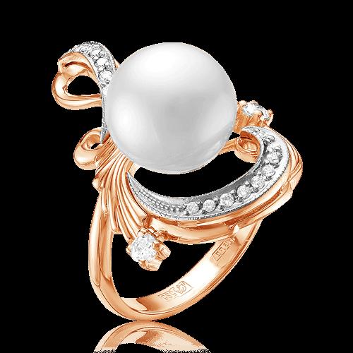 Купить Кольцо с жемчугом, бриллиантами из комбинированного золота 585 пробы