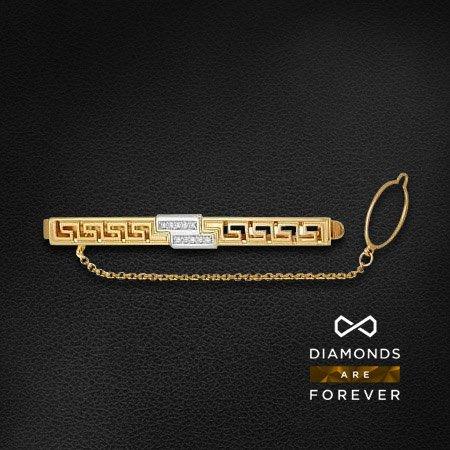Зажим для галстука с бриллиантами из комбинированного золота 585 пробыДля мужчин<br>Зажим для галстука с бриллиантами из комбинированного золота 585 пробы. Характеристики вставок: бриллиант 57кр 10-0.082ct 5/5а. Средний вес изделия: 5,65 гр.<br>
