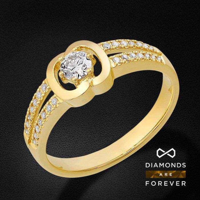 Кольцо с бриллиантами из желтого золота 585 пробыКольца<br>Кольцо с бриллиантами из желтого золота 585 пробы. Характеристики вставок: бриллиант 57кр 28-0.118ct 3/5а, бриллиант 57кр 1-0.25ct 5/5а. Средний вес изделия: 3.09 гр.<br>