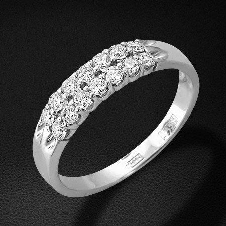 Кольцо дорожка с бриллиантами из белого золота 585 пробы