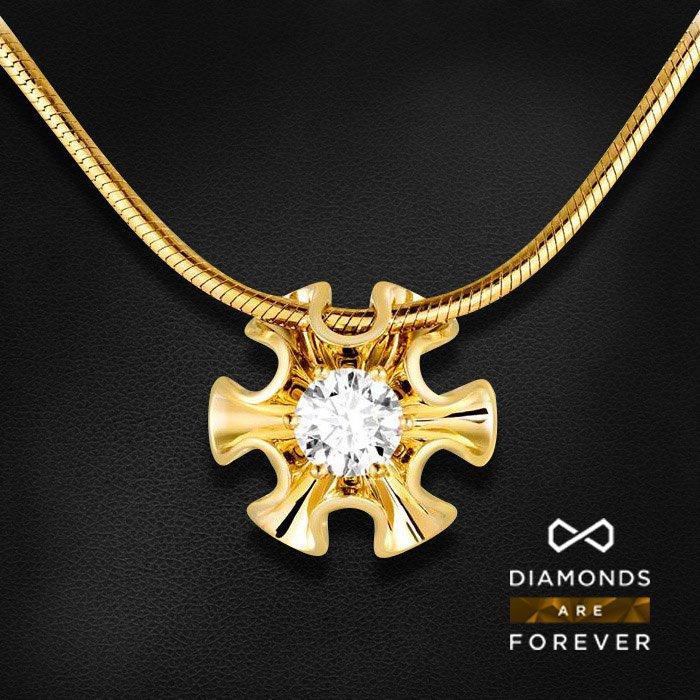 Колье с бриллиантом в желтом золотеКолье с бриллиантами<br>Колье с бриллиантом в желтом золоте 585 пробы. Характеристики: 1 бриллиант 0.38. Средний вес: 8.06 гр.<br>