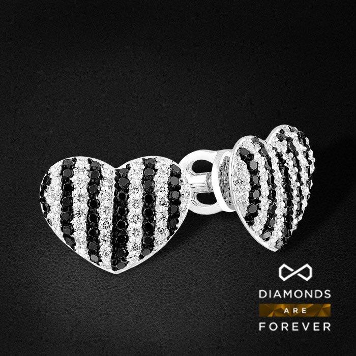 Купить Серьги пусеты сердце с белыми и черными бриллиантами из белого золота 585 пробы