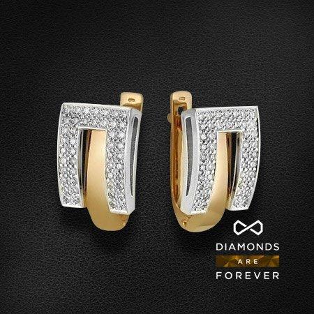 Серьги с бриллиантами из комбинированного золота 585 пробыСерьги<br>Серьги с бриллиантами из комбинированного золота 585 пробы. Характеристики вставок: бриллиант 57кр 92-0.33ct 5/5а. Средний вес изделия: 4,7 гр.<br>