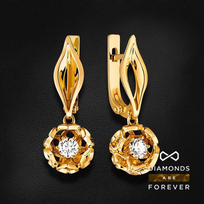 Серьги с бриллиантами в желтом золотеСерьги с бриллиантами<br>Серьги с бриллиантами в желтом золоте 585 пробы. Характеристики: 2 бриллиант 0.52. Средний вес: 6.9 гр.<br>