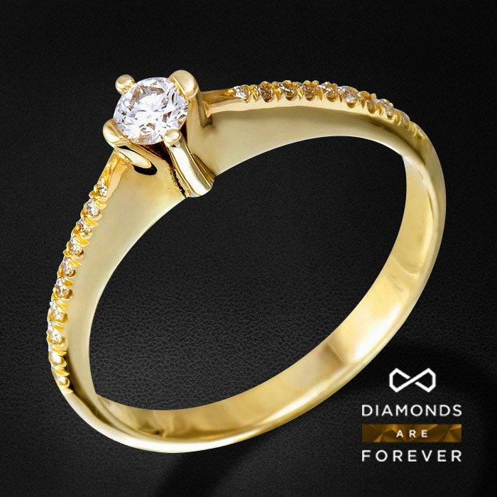 Кольцо с бриллиантами из желтого золота 585 пробыЮвелирные украшения<br>Кольцо с бриллиантами из желтого золота 585 пробы. Характеристики вставок: 20Бр Кр-57 0.10 3/4 А; 1Бр Кр-57 0.13 4/4 А. Средний вес: 2,45 гр.<br>