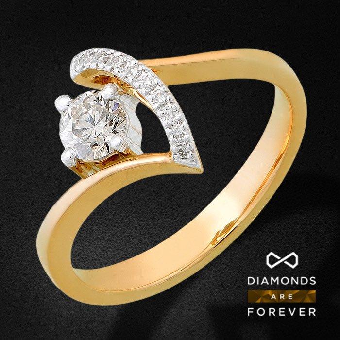 Кольцо с бриллиантами из красного золота 585 пробыКольца<br>Кольцо с бриллиантами из красного золота 585 пробы. Характеристики вставок: бриллиант 57кр 1-0.47ct 5/5а, бриллиант 57кр 10-0.048ct 5/5а. Средний вес изделия: 3.26 гр.<br>