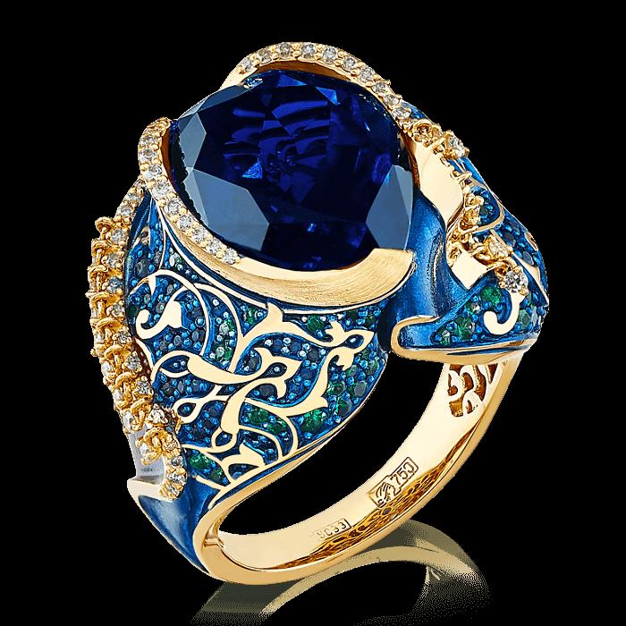 Купить Кольцо Восточная Сказка с лондонским топазом, сапфиром, бриллиантами, тсаворитом, эмалью из желтого золота 750 пробы