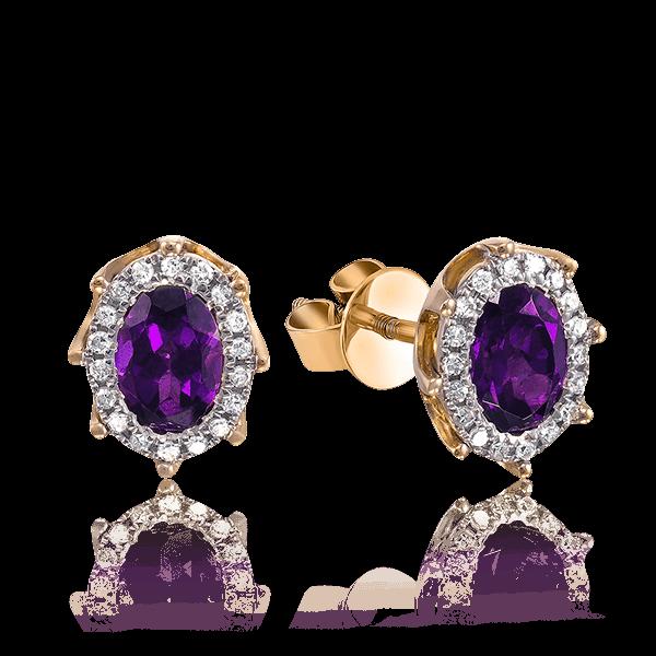 Купить Серьги c аметистом, бриллиантами из красного золота 585 пробы