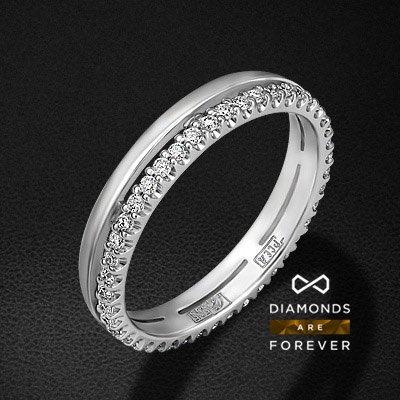 Кольцо с бриллиантами из белого золота 585 пробыКольца с бриллиантами<br>Кольцо с бриллиантами из белого золота 585 пробы. Характеристики вставок: 44 бриллиант кр57 0,29. Средний вес изделия: 2.31 гр.<br>