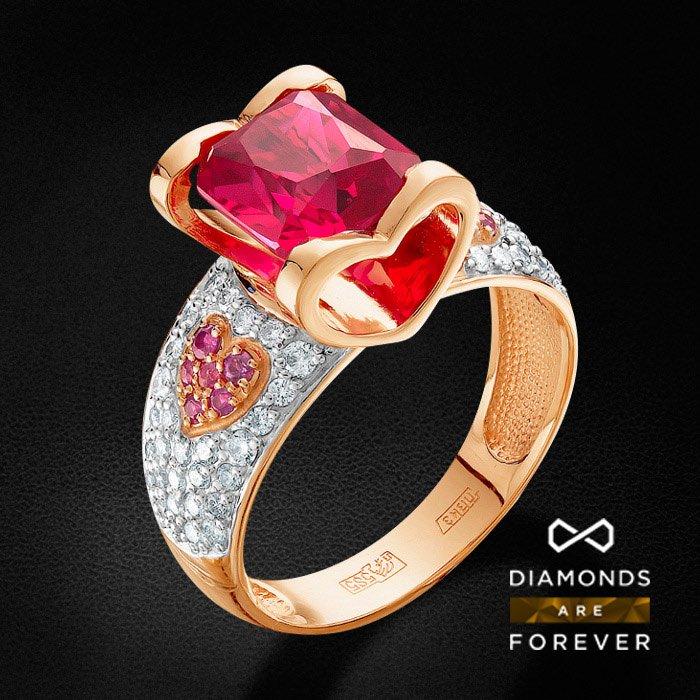Кольцо с рубином, бриллиантами, корундом из красного золота 585 пробыКольца<br>Кольцо с рубином, бриллиантами, корундом из красного золота 585 пробы. Характеристики вставок: 1 корунд рубиновый октагон 8.5*7.5 3.1ct., 4 рубин круг 1.5 2/2 0.07ct., 48 бриллиант кр 57 200-120 3/5а 1.15-1.2 0.356ct., 8 рубин круг 1.25 2/2 0.07ct., 8 бри...<br>