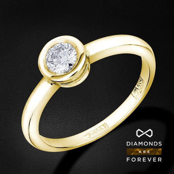 Кольцо с 1 бриллиантом из желтого золота 585 пробыКольца с бриллиантами<br>Кольцо с 1 бриллиантом из желтого золота 585 пробы. Характеристики вставок: 1 бриллиант кр57 0.26 4/5 а. Средний вес изделия: 2.11 гр.<br>