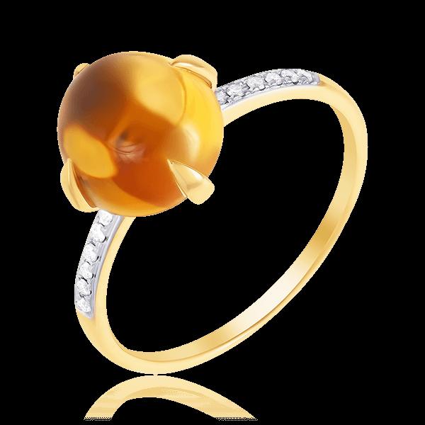 Купить Кольцо с бриллиантами, цитрином из желтого золота 585 пробы