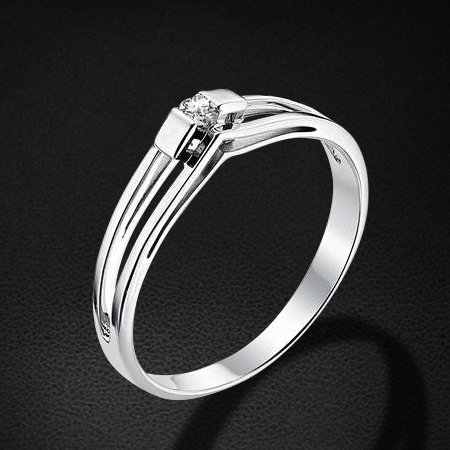 Кольцо с бриллиантами из белого золота 585 пробыКольца<br>Кольцо с бриллиантами из белого золота 585 пробы. Характеристики вставок: бриллиант 1 0.05 4/5 кр57. Средний вес изделия: 1,85 гр.<br>