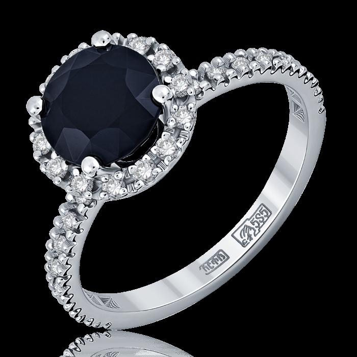Купить Кольцо с черным сапфиром и бриллиантами из белого золота 585 пробы