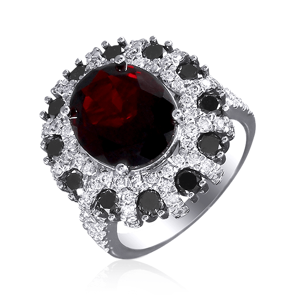Купить Кольцо с гранатами, белыми и черными бриллиантами в белом золоте 585 пробы