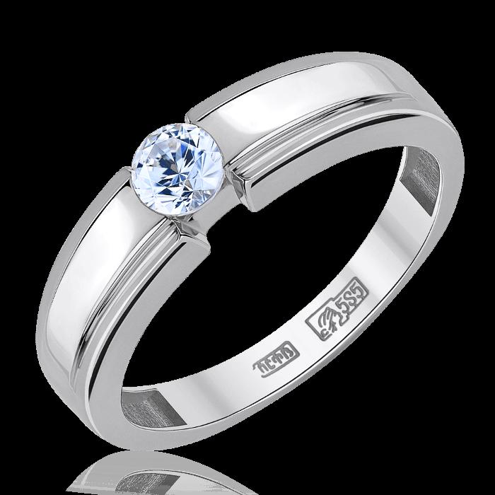 Кольцо с 1 бриллиантом из белого золота 585 пробыКольца<br>Кольцо с 1 бриллиантом из белого золота 585 пробы. Характеристики вставок: 1 бриллиант кр57 4,00 мм 3/5а 0,244 ct. Средний вес: 3,24 гр.<br>