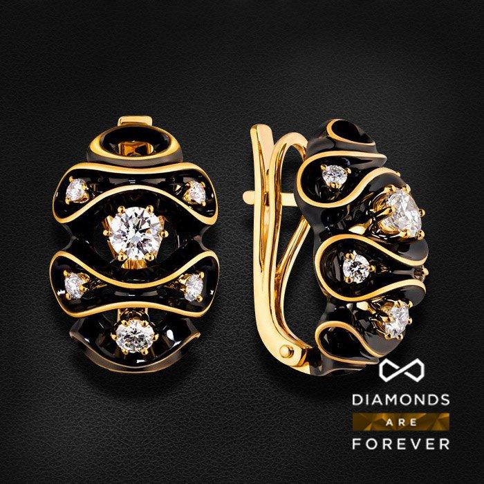 Серьги с бриллиантами в желтом золотеСерьги с бриллиантами<br>Серьги с бриллиантами в желтом золоте 585 пробы. Характеристики: 12 бриллиант 0.867. Средний вес: 8.97 гр.<br>