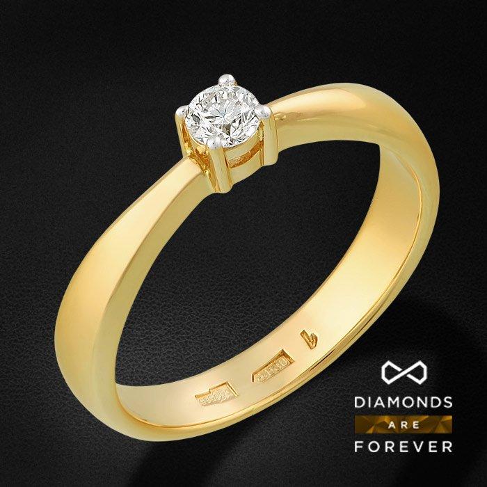 Кольцо с 1 бриллиантом в желтом золоте 585 пробыЮвелирные украшения<br>Кольцо с 1 бриллиантом в желтом золоте 585 пробы. Характеристики: 1 бриллиант 0.14 4/5А. Средний вес 3.37 гр.<br>