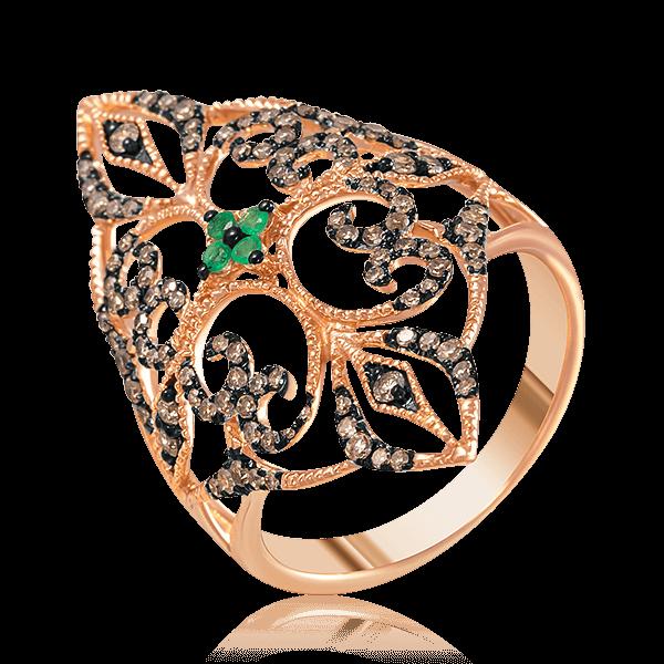 Кольцо с изумрудами, коричневыми бриллиантами в красном золоте 585 пробыОсновной раздел каталога<br>#REF!<br>