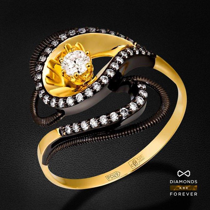 Кольцо с бриллиантами из желтого золота 585 пробыКольца<br>Кольцо с бриллиантами из желтого золота 585 пробы. Характеристики вставок: 44 бриллиант 0,313. Средний вес изделия: 3.18 гр.<br>