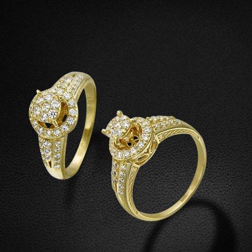 Кольцо с фианитами из желтого золота 585 пробыКольца<br>Кольцо с фианитами из желтого золота 585 пробы. Характеристики вставок: фианит круг  48шт.,1.13ct. Средний вес изделия: 5,7 гр.<br>