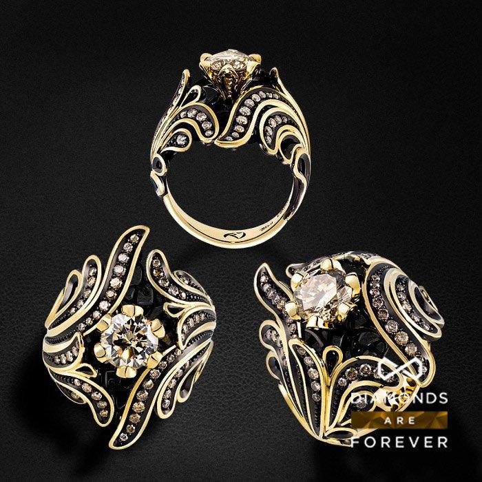 Роскошное кольцо с 53 бриллиантами из желтого золота 585 пробыКольца<br>Роскошное кольцо с 53 бриллиантами из желтого золота 585 пробы. Характеристики вставок: 53 бриллианта 2.076 карат. Средний вес: 14,21 гр.<br>
