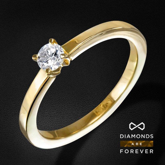 Кольцо с 1 бриллиантом из белого золота 750 пробыКольца<br>Кольцо с бриллиантами из желтого золота 750 пробы. Характеристики вставок: 1 бриллиант кр57 0.23 4/5 а. Средний вес изделия: 3,58 гр.<br>