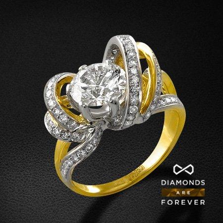 Кольцо с бриллиантами из желтого золота 750 пробыКольца с бриллиантами<br>Кольцо с бриллиантами из желтого золота 750 пробы. Характеристики вставок: 1 бриллиант кр57 2.01 ; 79 бриллиант кр57 0.795. Средний вес изделия: 8.36 гр.<br>