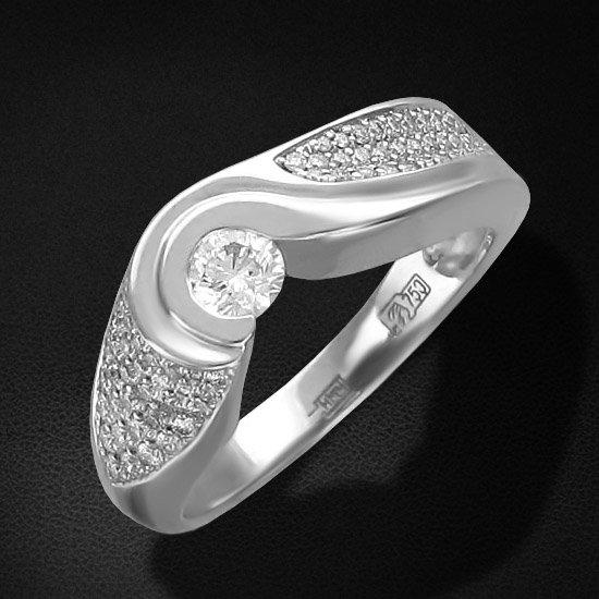 Кольцо с бриллиантами из белого золота 750 пробыКольца<br>Кольцо с бриллиантами из белого золота 750 пробы. Характеристики вставок: бриллиант 3/4 10шт.,0.04ct ; бриллиант 3/4 10шт.,0.09ct ; бриллиант 3/4 11шт.,0.08ct ; бриллиант 3/5 31шт.,0.12ct ; бриллиант 3/5 5шт.,0.01ct ; бриллиант 3/6 2шт.,0.01ct ; бриллиант...<br>