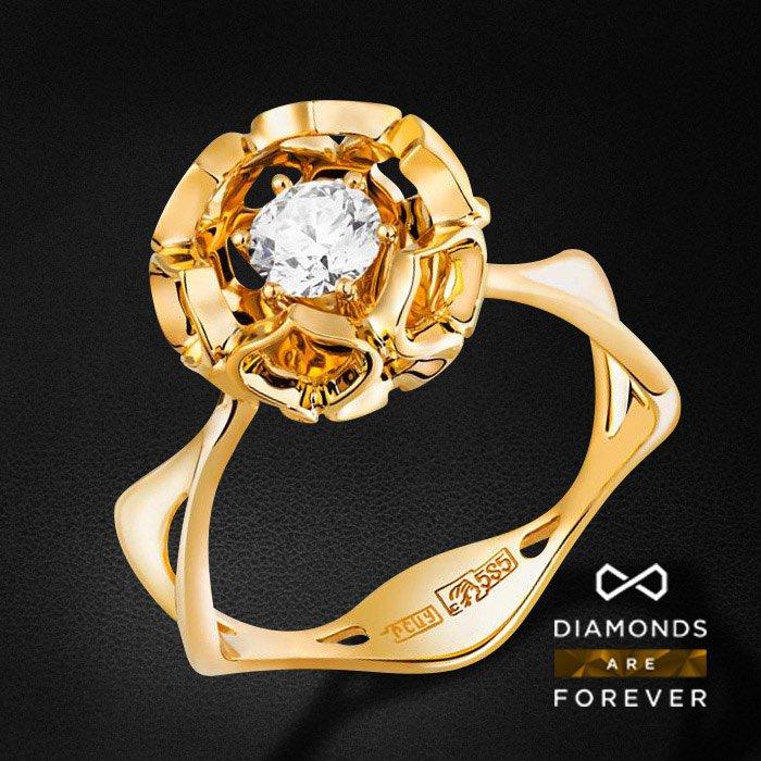 Кольцо с бриллиантами в желтом золотеКольца с бриллиантами<br>Кольцо для помолвки с бриллиантами в желтом золоте 585 пробы. Характеристики: 1 бриллиант 0.35. Средний вес: 4.32 гр.<br>