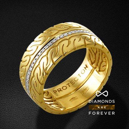 Мужское кольцо с бриллиантами из желтого золота 750 пробыПерстни<br>Мужское кольцо с бриллиантами из желтого золота 750 пробы. Характеристики вставок: 62 бриллиант кр57 0,215. Средний вес изделия: 14.41 гр.<br>