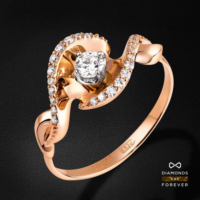 Кольцо с бриллиантами из красного и белого золота 585 пробыКольца<br>Кольцо с бриллиантами из красного и белого золота 585 пробы. Характеристики вставок: 23 бриллиант 0,307. Средний вес изделия: 2.83 гр.<br>