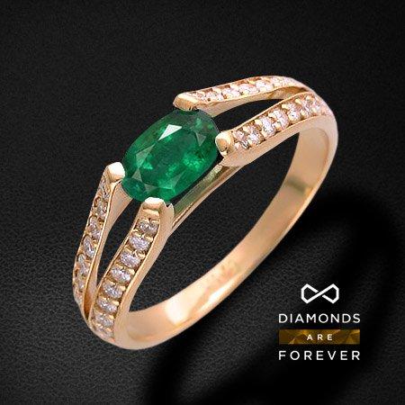 Кольцо с бриллиантами, изумрудом из красного золота 585 пробыКольца<br>Кольцо с бриллиантами, изумрудом из красного золота 585 пробы. Характеристики вставок: бриллиант кр-57 2/5 48шт.,0.28ct ; изумруд овал 4/3 1шт.,0.61ct. Средний вес изделия: 2,85 гр.<br>