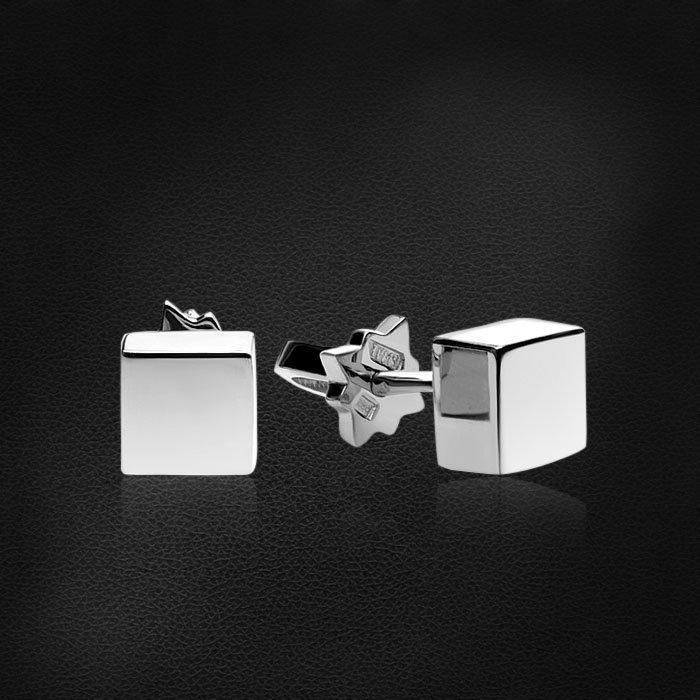 Геометрические серьги пусеты Cube из белого золота 585 пробыСерьги<br>Геометрические серьги пусеты Cube из белого золота 585 пробы. Средний вес изделия: 2,44 гр.<br>