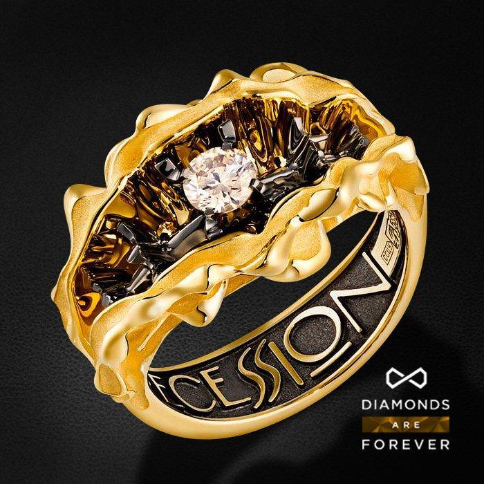 Кольцо с бриллиантами из желтого золота 585 пробыКольца<br>Кольцо с бриллиантами из желтого золота 585 пробы. Характеристики вставок: 1 бриллиант 0.28 ct. Средний вес изделия: 10.62 гр.<br>