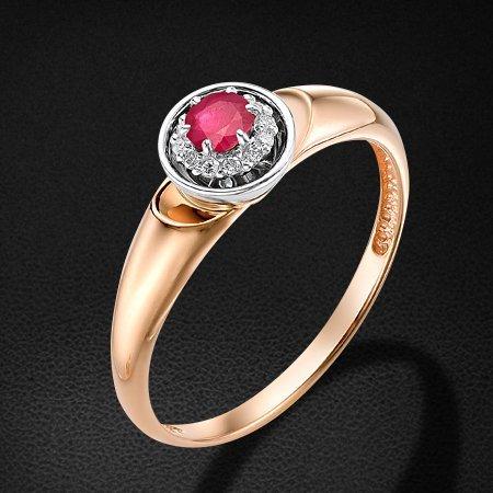 Кольцо с рубином, бриллиантами из красного золота 585 пробыКольца<br>Кольцо с рубином, бриллиантами из красного золота 585 пробы. Характеристики вставок: рубин 1 - 0,2 - 3,2 - 2/2; бриллиант 12 кр17 - 0,032 2/3а. Средний вес изделия: 1,76 гр.<br>