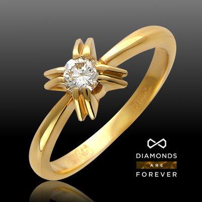 Кольцо с 1 бриллиантом из красного золота 585 пробыЮвелирные украшения<br>Кольцо с бриллиантами из красного золота 585 пробы. Характеристики вставок: бриллиант кр-57 4/3 1шт.,0.22ct. Средний вес изделия: 2,95 гр.<br>
