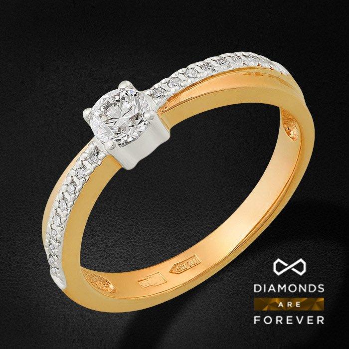 Кольцо для помолвки с бриллиантами из красного золота 585 пробыКольца<br>Кольцо для помолвки с бриллиантами из красного золота 585 пробы. Характеристики: 1 бриллиант 0.24 5/5А, 18 бриллиантов 0.076 5/5А. Средний вес: 2,78 гр.<br>