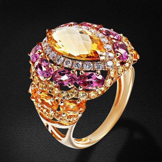 Купить Кольцо с цитрином, бриллиантами, турмалином, сапфиром фантазийным из желтого золота 585 пробы