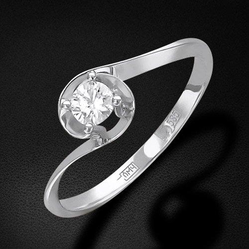 Кольцо с 1 бриллиантом из белого золота 585 пробыКольца<br>Кольцо с 1 бриллиантом из белого золота 585 пробы. Характеристики вставок: бриллиант кр-57 4/7 1шт.,0.19ct. Средний вес изделия: 1,07 гр.<br>