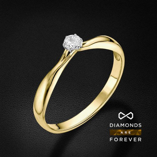 Кольцо с 1 бриллиантом из желтого золота 585 пробыКольца<br>Кольцо с 1 бриллиантом из желтого золота 585 пробы. Характеристики вставок: бриллиант 1 0.169 3/5 круг. Средний вес изделия: 1,58 гр.<br>