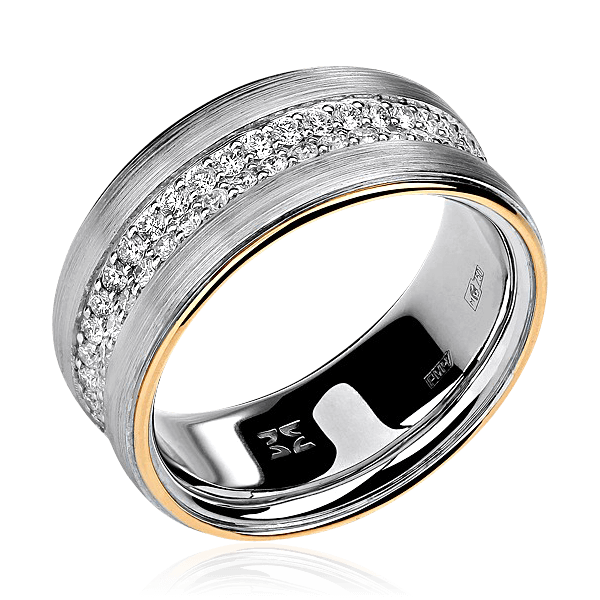 Купить Обручальное кольцо с бриллиантами из комбинированного золота 750 пробы